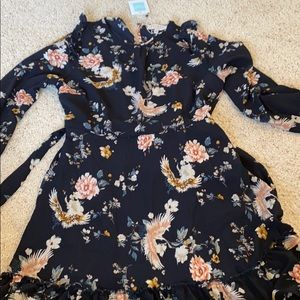 Gorgeous Navy Blue and Floral print dress